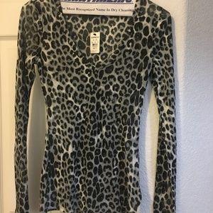 NWT EXPRESS Snow Leopard Print Blouse